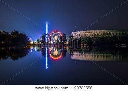 Spring fair at the lake Dutzendteich in Nuremberg at night