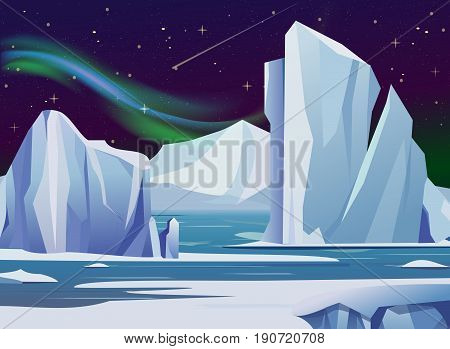 Vector illustration arctic night landscape with, iceberg and mountains. Cold climate winter background polar lights and stars