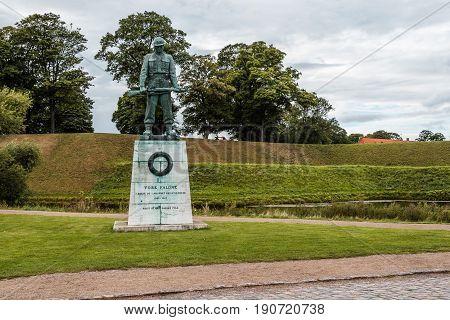 Copenhagen Denmark - August 10 2016. Soldier bronze statue in Churchill Park in Copenhagen Denmark a cloudy day of summer