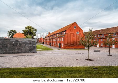 Copenhagen Denmark - August 10 2016. Kastellet a cloudy day of summer. It is one of the best preserved star fortresses in Northern Europe. It is constructed in the form of a pentagram with bastions at its corners.