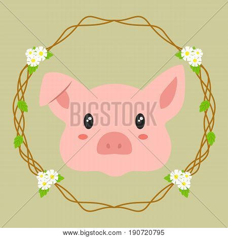 cute pig vector, with floral wreath background