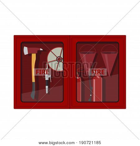 Fire hose cabinet on white background. Box with firefighter's equipment: axe, extinguisher, hose and bucket. Vector illustration