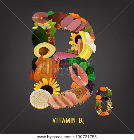 High vitamin B6 Foods. Healthy fruits, berries, nuts, fish, meat and vegetables in a letter B shape. Vector illustration in bright colours on a dark grey background.