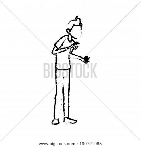 sick man character symptom unwell image vector illustration