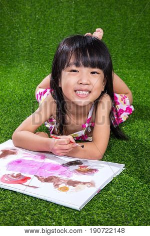 Asian Chinese Little Girl Drawing And Painting