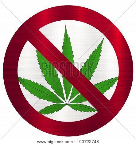 No Smoking marijuana forbidden drug  illustration  weed