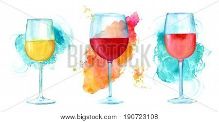 A set of watercolor drawings of glasses of white, red, and rose wine, hand painted in retro style, on vibrant brush stroke textures, with a place for text