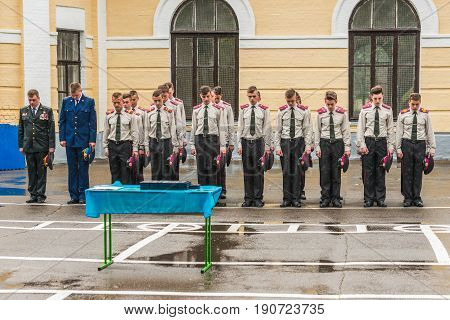 KYIV, UKRAINE - May 26, 2017: Students of the Kiev military lyceum of Ivan Bohun take part in the celebrations dedicated to the end of the academic year.