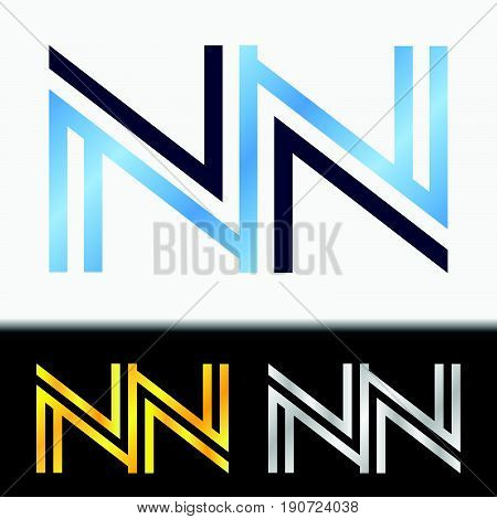 Initial letter NN premium blue metallic rotated lowercase logo template in white background, and custom preview in gold and silver color