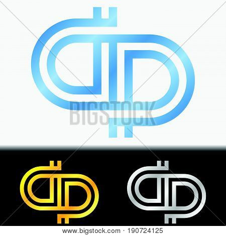 Initial letter PP premium blue metallic rotated lowercase logo template in white background, and custom preview in gold and silver color