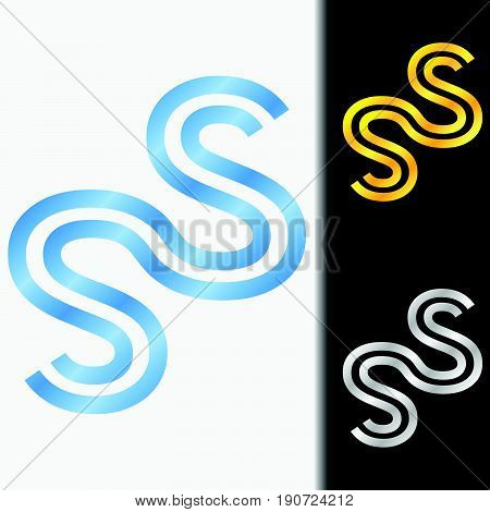 Initial letter SS premium blue metallic rotated lowercase logo template in white background, and custom preview in gold and silver color