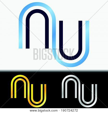 Initial letter UU premium blue metallic rotated lowercase logo template in white background, and custom preview in gold and silver color