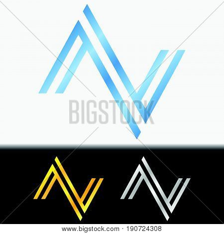 Initial letter VV premium blue metallic rotated lowercase logo template in white background, and custom preview in gold and silver color