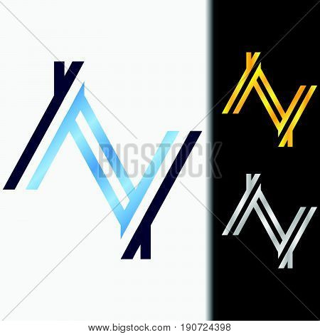 Initial letter YY premium blue metallic rotated lowercase logo template in white background, and custom preview in gold and silver color