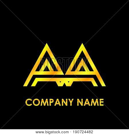 Initial letter AA elegant gold reflected lowercase logo template in black background