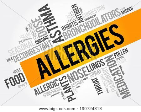 Allergies Word Cloud Collage, Health Concept Background