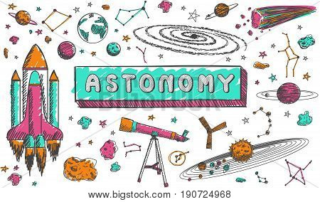 Astronomy science education subject doodle icon. Doodle for presenation title or school education promotion in fundamental astronomy science concept create by vector