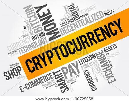 Cryptocurrency Word Cloud Collage, Business Concept Background