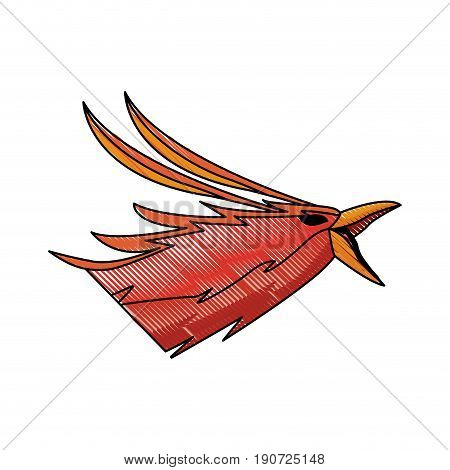Phoenix head legend creature beast image vector illustration