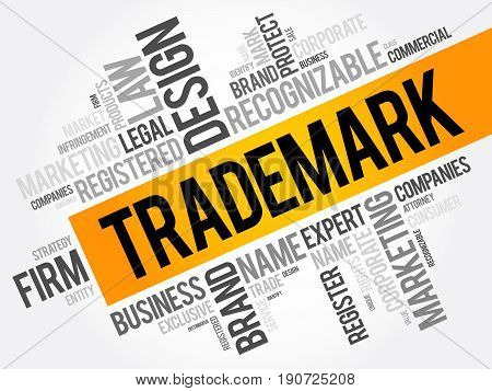 Trademark Word Cloud Collage, Business Concept Background