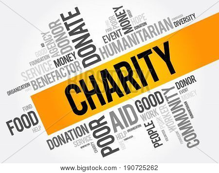 Charity Word Cloud Collage, Business Concept Background