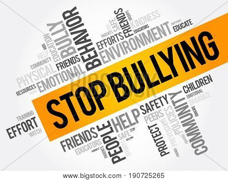 Stop Bullying word cloud collage social concept background poster
