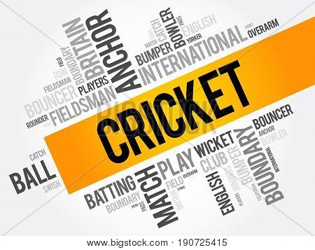 Cricket Word Cloud Collage, Sport Concept Background