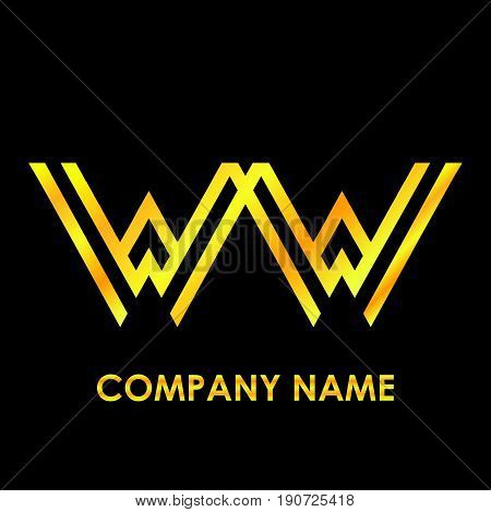 Initial letter WW elegant gold reflected lowercase logo template in black background