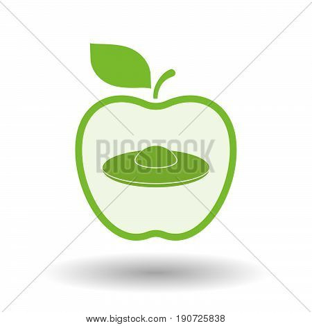 Isolated Apple With  A Flying Saucer Ufo