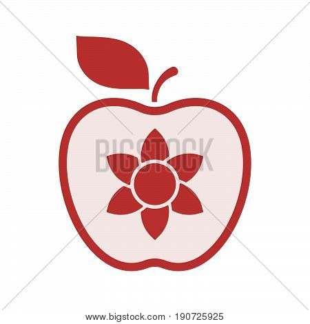 Isolated Apple With  A Lotus Flower