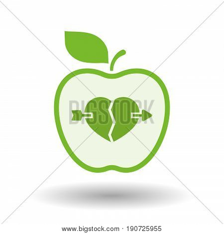 Isolated Apple With  A Broken Heart Pierced By An Arrow