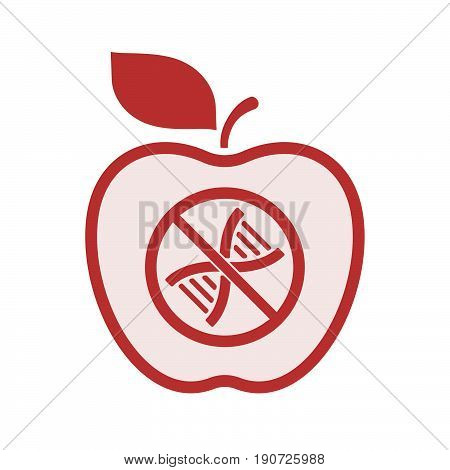 Isolated Apple With  A Dna Sign In A Not Allowed Signal