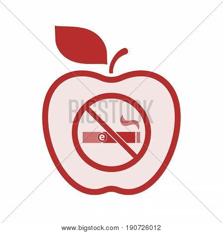 Isolated Apple With  An E-cigarette  In A Not Allowed Signal