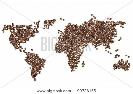 Edible World Map Made From Coffee Beans Isolated On White