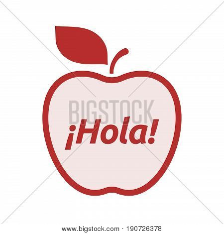 Isolated Apple With  The Text Hello! In Spanish Language