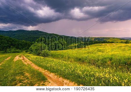 Country Road Through Rural Fields In Mountains Summer Landscape
