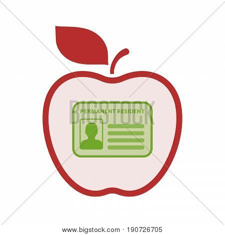 Isolated Apple With  A Green Card