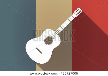 Long Shadow France Flag With  A Six String Acoustic Guitar