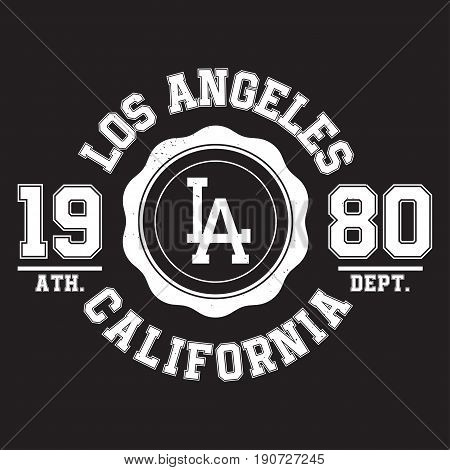 Los Angeles, California Typography For T-shirt Print. Sports, Athletic T-shirt Graphics