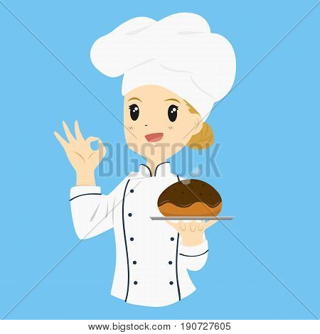 female baker carrying a chocolate bread bun and gestured ok sign