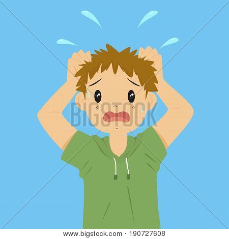 vector illustration of anxious boy on blue background