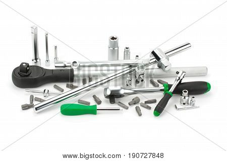 set tools for tightening and loosening isolated on white background
