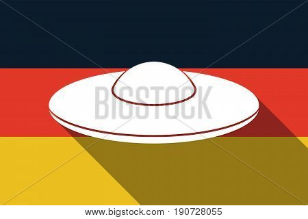 Long Shadow Germany Flag With  A Flying Saucer Ufo