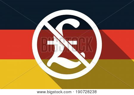 Long Shadow Germany Flag With  A Pound Sign  In A Not Allowed Signal