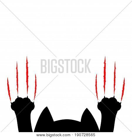 Cartoon black cat. Paw print and head silhouette. Red bloody claws animal scratch scrape track. Cute funny character. White background. Isolated. Flat design. Vector illustration