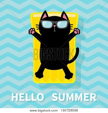 Black cat floating on yellow air pool water mattress. Cute cartoon relaxing character. Sunglasses. Hello Summer. Sea Ocean water with zigzag waves. Blue background Flat design. Vector illustration