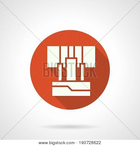 Abstract white silhouette of inputs panel with connected audio cables. Sound equipment for stage or studio. Round flat design red vector icon, long shadow.