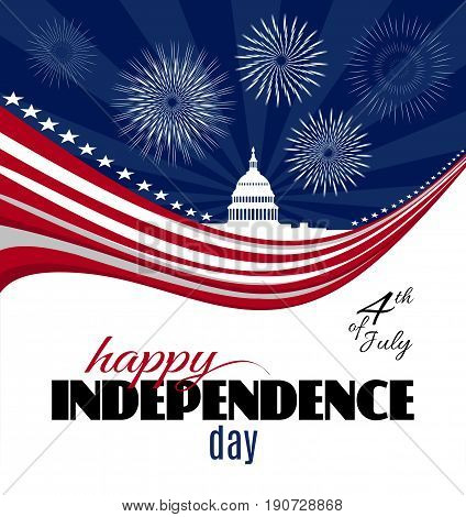 Happy Independence day greeting card or poster template. Patriotic American background with abstract USA flag and White house and Capitol building Washington DC symbol. Vector illustration
