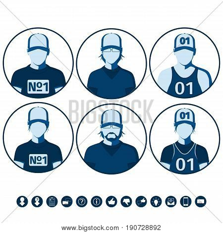 Male and female avatars of sports people. Set of icons with silhouettes of men and women for user profile picture. Flat vector illustration.