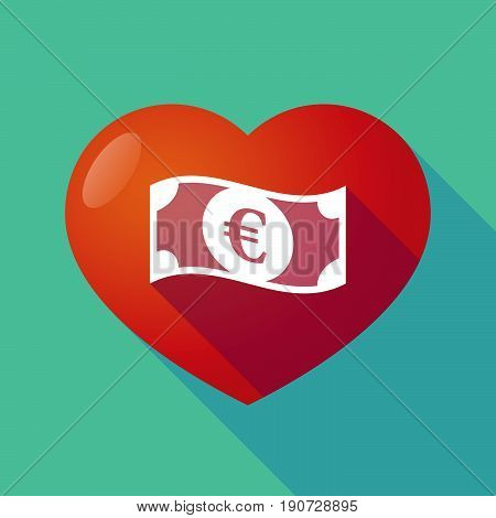 Long Shadow Heart With  An Euro Bank Note